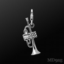 Sterling Silver Charm Trumpet