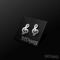 Sterling Silver Earring Bass Clef M