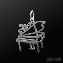 Sterling Silver Pendant Grand Piano M