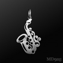 Sterling Silver Pendant Saxophone S