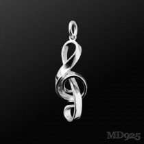 Sterling Silver Pendant Treble Clef Big